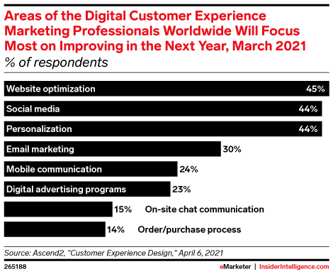 Areas of the Digital Customer Experience Marketing Professionals Worldwide Will Focus Most on Improving in the Next Year, March 2021 (% of respondents)