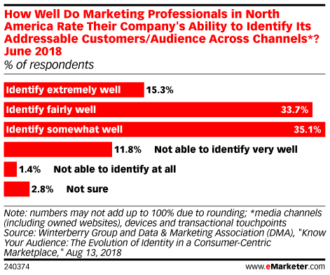 How Well Do Marketing Professionals in North America Rate Their Company's Ability to Identify Its Addressable Customers/Audience Across Channels*? June 2018 (% of respondents)