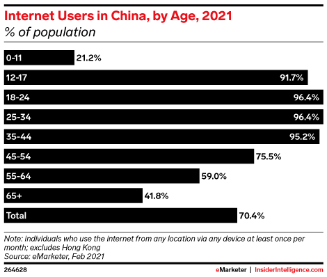 Internet Users in China, by Age, 2021 (% of population)