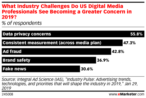 What Industry Challenges Do US Digital Media Professionals See Becoming a Greater Concern in 2019? (% of respondents)